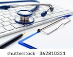 medical stethoscope on computer ... | Shutterstock . vector #362810321