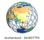 political globe with colored ... | Shutterstock . vector #362837795