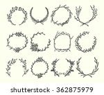 Hand Drawn Wreath Set Made In...