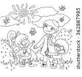 the children kindergarten with... | Shutterstock .eps vector #362887985