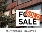 a sold sign and a house on the...   Shutterstock . vector #3628915