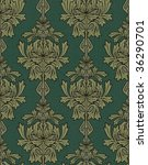 emerald green with gold damask background - stock photo
