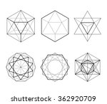 Hexagonal shapes set. Crystal forms. Winter design elements. Hexagons vector illustration. On a white background. Drawing. Types of crossings. Geometry. Cryptogram. Sacred Geometry | Shutterstock vector #362920709