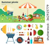 summer picnic on meadow under... | Shutterstock .eps vector #362925779