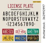 3d license plate font and... | Shutterstock .eps vector #362992997