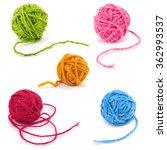 Woolen Yarn Balls Isolated On...