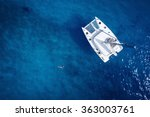 Catamaran In Open Sea   Aerial...