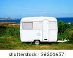Camp mobile on a site in Brittany in France - stock photo