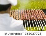 catering chef cooking meat on... | Shutterstock . vector #363027725