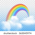 rainbow with clouds transparent  | Shutterstock . vector #363045974