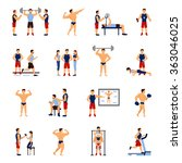 gym trainer set | Shutterstock . vector #363046025
