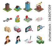 real estate icon isometric | Shutterstock . vector #363047309