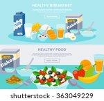 healthy food flat banner set  | Shutterstock . vector #363049229