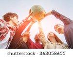 multiracial teen couple holding ... | Shutterstock . vector #363058655