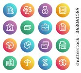 finance flat contour icons on... | Shutterstock .eps vector #363061589
