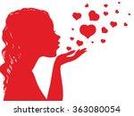 silhouette of a girl sending a... | Shutterstock .eps vector #363080054
