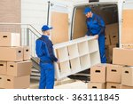 young male movers unloading... | Shutterstock . vector #363111845