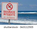 a sign indicates that bathing... | Shutterstock . vector #363112505