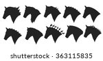 vector set of horse head... | Shutterstock .eps vector #363115835