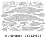 Vector Cartoon Crocodile  Fish...