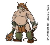orc with cudlet and whip | Shutterstock .eps vector #363127631