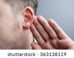 man with hand on ear listening... | Shutterstock . vector #363138119
