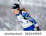Small photo of Nove Mesto na Morave, Czech Republic - January 10, 2016: Biathlon IBU CUP 4, women sprint 7.5km competition. Celia Almoner (22)