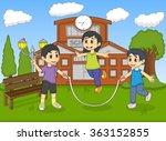 little kids playing jump rope... | Shutterstock .eps vector #363152855