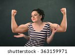 pretty young woman with strong... | Shutterstock . vector #363159971