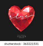red origami heart on black... | Shutterstock .eps vector #363221531
