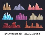 cartoon rocks and mountains set ...