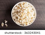 olive oil popped popcorn in a... | Shutterstock . vector #363243041