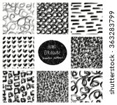 hand drawn seamless patterns... | Shutterstock .eps vector #363283799