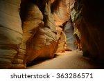 woman hiker in beautiful slot...