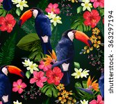 floral background with tropical ... | Shutterstock .eps vector #363297194