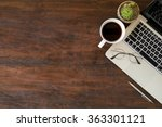wood office desk table with... | Shutterstock . vector #363301121