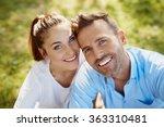 closeup of happy couple looking ... | Shutterstock . vector #363310481