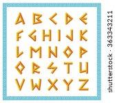 greek font. golden bevel stick... | Shutterstock .eps vector #363343211