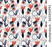 seamless floral pattern. pretty ... | Shutterstock .eps vector #363343991