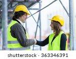 construction workers shaking... | Shutterstock . vector #363346391