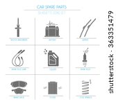 9 car parts  solid  silhouette  ... | Shutterstock .eps vector #363351479