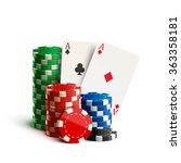 casino chips and cards isolated ... | Shutterstock .eps vector #363358181