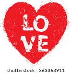 grunge red heart. happy... | Shutterstock .eps vector #363363911