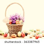 colorful hand painted easter... | Shutterstock . vector #363387965