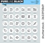 thin line icons set of... | Shutterstock .eps vector #363393869