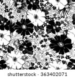 Stock vector seamless black and white floral pattern 363402071