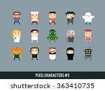 different pixel art characters  ... | Shutterstock .eps vector #363410735