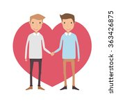 gay couple in front of heart... | Shutterstock .eps vector #363426875