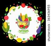 fruit vase. organic food icons... | Shutterstock .eps vector #363436955