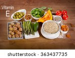 foods high in vitamin e on a... | Shutterstock . vector #363437735